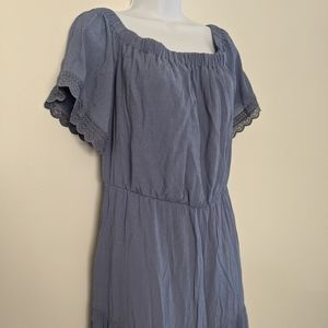 Luxology Blue Maxi Peasant Dress